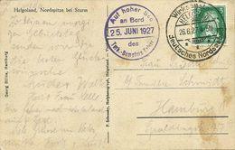 AK Helgoland Nordspitze Schiffspost Turb.Dampfer Kaiser 1927 #32 - Helgoland