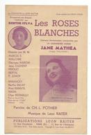 Partition  LES ROSES BLANCHES- JANE MATHEA- - Noten & Partituren