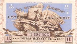 Billet De Loterie Nationale Les Gueules Cassées 1937, 11 ème Tranche - Biglietti Della Lotteria