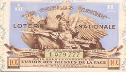 Billet De Loterie Nationale Les Gueules Cassées 1937, 10 ème Tranche - Biglietti Della Lotteria