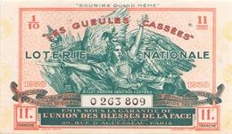 Billet De Loterie Nationale Les Gueules Cassées 1938 11 ème Tranche - Biglietti Della Lotteria