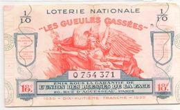 Billet De Loterie Nationale Les Gueules Cassées 1939 18 ème Tranche - Biglietti Della Lotteria