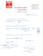 Factuur Facture  - Boekhandel Dubrulle - Gent 1968 - Imprimerie & Papeterie
