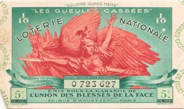 Billet De Loterie Nationale Les Gueules Cassées 1937 5 ème Tranche - Biglietti Della Lotteria