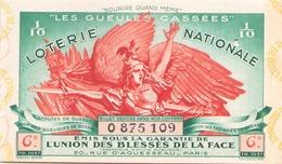 Billet De Loterie Nationale Les Gueules Cassées 1937 6 ème Tranche - Biglietti Della Lotteria
