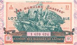 Billet De Loterie Nationale Les Gueules Cassées 1938 9 ème Tranche - Biglietti Della Lotteria