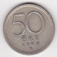 50 Öre Münze Aus Schweden (vorzüglich) 1949 Silber - Schweden