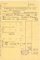 Factuur Facture  - Compagnie Continentale Du Gaz - Bruxelles 1928 - Electricity & Gas