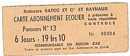 CUERS - CARTE CAR SCOLAIRE - ANNÉES 60. - Abonnements Hebdomadaires & Mensuels