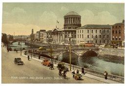 (324) Very Old Postcard - Ireland - Dublin Four Courts & River - Dublin
