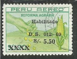 "PERU' 1969 AIR MAIL POSTA AEREA AGRARIAN ""REFORMA AGRARIA"" $ 1.90 OVERPRINTED HABILITADO S 5.50 SOL USATO USED OBLITERE' - Peru"