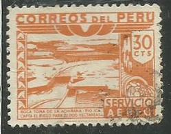 PERU' 1938 AIR MAIL POSTA AEREA DAM ICA RIVER DIGA FIUME CENT. 30c USATO USED OBLITERE' - Peru