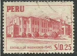 PERU' 1945 ENGINEERING SCHOOL SCUOLA D'INGEGNERIA ESCUELA DE INGENIEROS  SOL 0,25 S USATO USED OBLITERE' - Peru