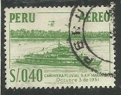PERU' 1953 1960 AIR MAIL  RIVER GUNBOAT MARANON SOL 0,40 S USATO USED OBLITERE' - Peru