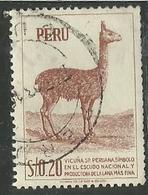 PERU' 1952 1953 FAUNA ANIMALS ANIMAL VICUNA ANIMALI ANIMALE VIGOGNA CENT. 40 40c USATO USED OBLITERE' - Peru