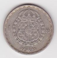 1 Krone Münze Aus Schweden (vorzüglich) 1949 Silber - Schweden