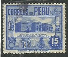 PERU' 1938 Archaeological MUSEUM LIMA MUSEO ARCHEOLOGICO CENT. 15 15c USATO USED OBLITERE' - Peru