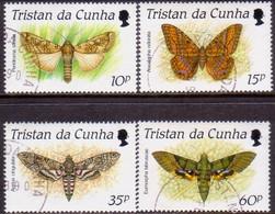 TRISTAN DA CUNHA 1990 SG #490-93 Compl.set Used Moths - Tristan Da Cunha