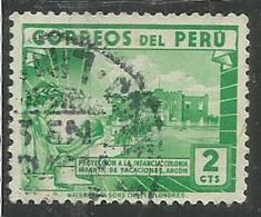 PERU' 1945 1947 Children's Holiday CENTER ANCON CENT. 2 2c USATO USED OBLITERE' - Peru