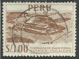 PERU' 1952 1953 FORTALEZA DE PARAMONGA RUINAS INCAICAS FORTEZZA ROVINE INCAS SOL 1 S USATO USED OBLITERE' - Peru