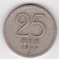 25 Öre Münze Aus Schweden (vorzüglich) 1949 Silber - Schweden