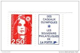 Briat 2fr50 Rouge YT 2715a Avec Le Logo JO . Pas Courant , Voir Le Scan . Cote Maury N° 2713a : 6 € . PRIX FIXE . - 1989-96 Maríanne Du Bicentenaire