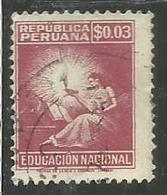 PERU' 1950 POSTAL TAX STAMPS SYMBOLICAL OF EDUCATION NACIONAL EDUCAZIONE CENT. 3c USATO USED OBLITERE' - Peru
