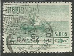 PERU' 1952 1953 FISHING BOAT AND PRINCIPAL FISH INDUSTRIA PESQUERA CENT. 5 00.5c USATO USED OBLITERE' - Peru