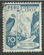 PERU' 1938  AIR MAIL POSTA AEREA HIGHWAY RAILROAD PASSING AUTOSTRADA FERROVIA CENT. 70 C. USATO USED OBLITERE' - Peru