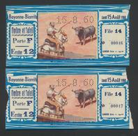 BAYONNE-BIARRITZ * TICKETS CORRIDOR TOROS * 1960 * 2 X - Biglietti D'ingresso
