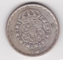 1 Krone Münze Aus Schweden (sehr Schön) 1948 Silber - Schweden