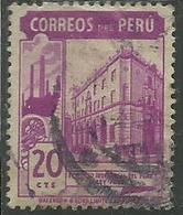 PERU' 1938 INDUSTRIAL BANK BANCA COMMERCIALE CENT. 20 20c USATO USED OBLITERE' - Peru
