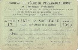 Carte De Sociétaire Du Syndicat De Pêche De Persan-Beaumont - Persan