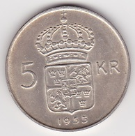 5 Kronen Münze Aus Schweden (vorzüglich) 1955 Silber - Schweden