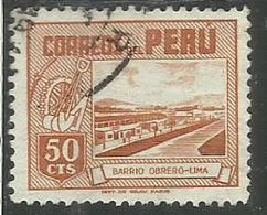 PERU' 1949 1951 WORKER'S HOUSE CASA DEL LAVORATORE CENT. 50 USATO USED OBLITERE' - Peru