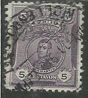 PERU' 1909 SAN MARTIN PORTRAIT RITRATTO CENT. 5 USATO USED OBLITERE' - Peru