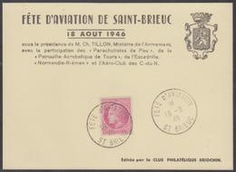 Année 1947 - Carte-souvenir - Fête D'aviation De Saint-Brieuc 18 Août 1946 - T-P N° 679 - Obl. 18-08-46 - Poststempel (Briefe)