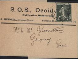 YT 278 2c Semeuse Caméee Vert Foncé Sur Bande Journal SOS Occident Paris Tarif Journaux 30 Juin 1923 Seul Sur Lettre Doc - Entiers Postaux