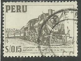 PERU' 1952 1953 LOCOMOTIVE TRAIN TRENO LOCOMOTIVA SOL 0,15 CENT. 15c USATO USED OBLITERE' - Peru
