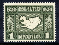 ICELAND 1930 Millenary Of Parliament 1 Kr. LHM / *  Michel 136 - 1918-1944 Autonomous Administration