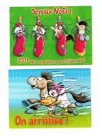 Lot 2 - Carte DIDDL N° 12/10 - 03/10 -  SOURIS MOUSE Cheval Chien Joeux NOEL Chaussette - Année 2011 - Diddl