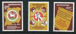 SURINAME MNH - 1985 250th Anniversary Of Evangelical Brotherhood In Surinam - Vari Cent - Michel SR 1154 1156 - Suriname