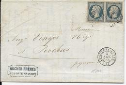 1853 - PAIRE 25c REPUBLIQUE BLEU VERDATRE Sur LETTRE 2° ECH De LA COTE ST ANDRE (ISERE) => PERTHUS - Marcophilie (Lettres)