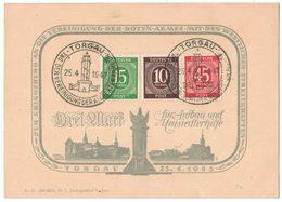 B106    Michel N.913, 918, 922, Gestempelt Used Auf Karte Aufbau Und Umsiedlerhilfe Torgau 1945 - Amerikaanse, Britse-en Russische Zone