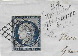 1851 - DOUBS - LETTRE De MOUTHIER HTE PIERRE Avec CURSIVE + GRILLE Sur CERES => BESANCON - IND 19 - Marcophilie (Lettres)