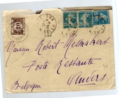 1924 Postage Due België Paris Ballu > Robert Mesmakert Anvers  (124) - Covers & Documents