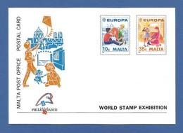 Malta 1989  Mi.Nr. 816/17 , Europa Cept - Kinderspiele - Ganzsache - Maximum Card - World Stamp Exhibition - Postfrisch - Europa-CEPT