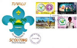 Tuvalu 1982 75th Anniversary Of Scouting FDC - Tuvalu