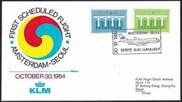 1984 - NEDERLAND - Cover 1st Flight + SG 1440/1441 [Europa] + AMSTERDAM - 1980-... (Beatrix)