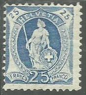 SWITZERLAND SUISSE SCHWEIZ SVIZZERA 1891 1899 HELVETIA CENT. 25c  MNH - 1882-1906 Wappen, Stehende Helvetia & UPU